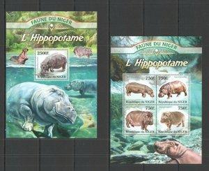 ST2827 2013 NIGER FAUNA WILD ANIMALS HIPPOPOTAMUS L'HIPPOPOTAME KB+BL MNH