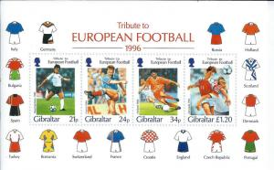 Gibraltar Wholesale Euro Football Stamp S/S 10 Sheets Below Face #710a