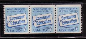 US#2005 20c strip of 3- Plate# 1 Joint Line  (MNH) CV $9.00