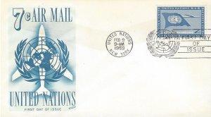United Nations C6-7  FDC  Airmail  Fleetwood Cachet