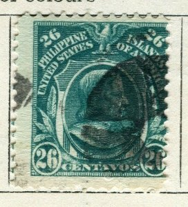 PHILIPPINES; 1909 early Portrait series issue used 26c. value