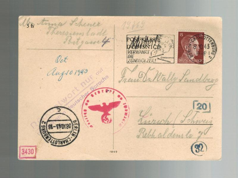 1943 Germany Theresienstadt Concentration Camp Postcard Cover to Switzerland KZ