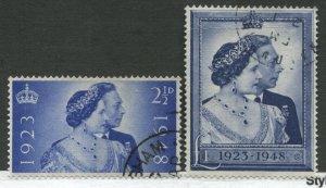 GB KGVI 1948 Silver Wedding set of 2 used, £1 slight crease