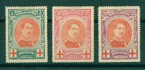 Belgium 1915 Red Cross Fund 5c to 20c sg157/9 cv£145 (3v) Mounted Mint Stamps