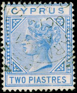 CYPRUS SG13, 2pi blue, FINE USED. Cat £35. WMK CC.