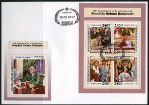 DJIBOUTI  2017  135th BIRTH ANNIVERSARY OF FRANKLIN D. ROOSEVELT SHEET FDC