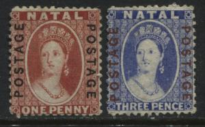 Natal QV 1870-73 1d & 3d overprinted Postage unused no gum