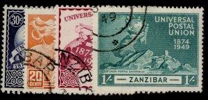 ZANZIBAR GVI SG335-338, anniversary of UPU set, FINE USED. Cat £13.