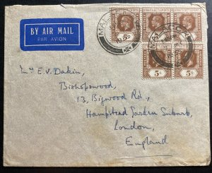 1935 Malacca Straits Settlements Airmail Cover To London England