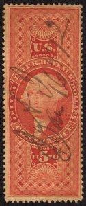 rs0046 U.S. Revenue Scott R89d $5 Conveyance on silk paper, 1872 manuscript cxl
