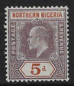 NORTHERN NIGERIA SG24 1905 5d DULL PURPLE & CHESTNUT MTD MINT