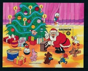 [22519] Grenada 1986 Disney Characters enjoy Christmas, Santa plays piano MNH