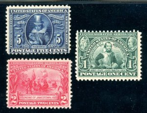 USAstamps Unused FVF US Jamestown Complete Set Scott 328 MHR 329, 330 OG MLH