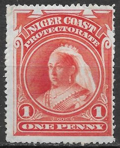 Niger Coast 1d vermillion Queen Victoria issue of 1897, Scott 56 MLH