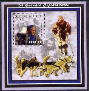 Mozambique MNH S/S Explorers & Sled Dogs 2002