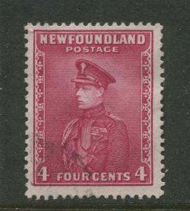 Newfoundland -Scott 189 -Pictorial Definitive Issue -1932 -FU -Single 4c Stamp