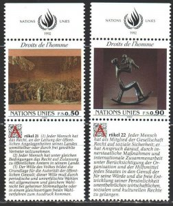 UN Geneva. 1992. 223-24. Declaration of Human Rights, German, Art. MNH.