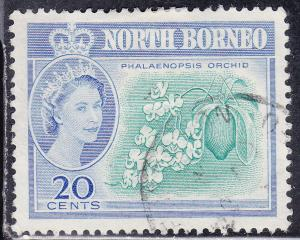 North Borneo 286 USED 1961 Phalaenopsis Orchid