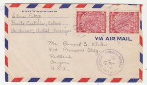 HONDURAS, 1952 Airmail cover, 16c.(2), Puerto Castilla to USA.