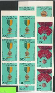GABON - Yvert 724 / 726  IMPERF in  blocks of 6 MILITARY DECORATIONS Medals 1992