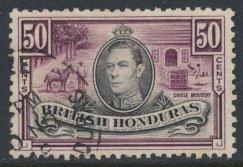 British Honduras  SG 158a SC # 123a  Used  Reddish  purple  shade please see ...