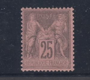 France Sc 93 MLH. 1878 25c black on red Type Sage, fresh, sound