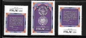 PALAU, 158-160 , MNH, US CONSTITUTION BICENTENNIAL