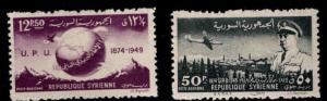 Syria Scott C154-C155 MH* 1949 UPU Airmail stamps