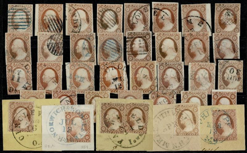 #11-#11A (36) DIFF USED; (1) #26 USED LOT ALSO INCLUDES SCARCE VARIETIES HV5397