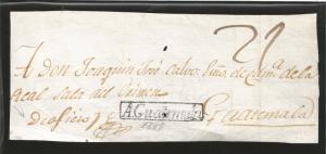 RG)1810 GUATEMALA, ANTIGUA GUATEMALA BLACK BOX, VERY RARE MARK, MANUSCRIPT RATE