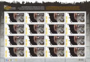 Canada Sc# 2283 MNH Pane/16 (inscribed) 2008 52¢ map of BC, panning for gold