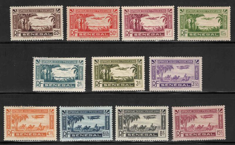 Senegal Scott C1-C11 airmail stamp set few with perf tip thins,1 pencil mark