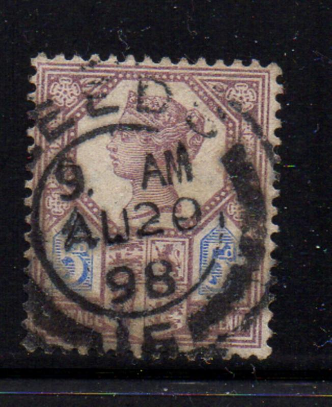 Great Britain Sc 118 1887 5d lilac & blue Victoria stamp used