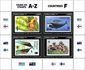 Sierra Leone - 2019 Stamps on Stamps WWF - 4 Stamp Sheet - SRL190919a
