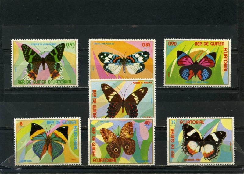 EQUATORIAL GUINEA BUTTERFLIES SET OF 7 STAMPS PERF. MNH
