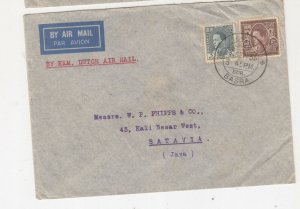 IRAQ, 1936 Airmail cover, Basrah to Neth. East Indies, 5f., & 50f.