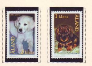 Aland Finland Sc 191-2 2001 Dogs stamp set mint NH