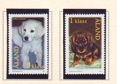 Aland Finland Sc 191-2 2001 Dogs stamp set mint NH