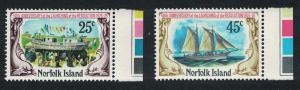 Norfolk 'Resolution' schooner 2v Right Margins Traffic Lights SG#170-171