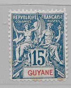 French Guiana 39 Navigation & Commerce single FOURNIER FORGERY FOR REFERENCE