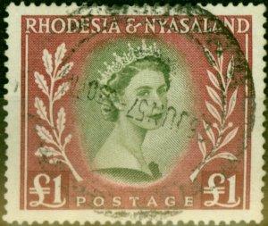 Rhodesia & Nyasaland 1954 £1 Olive-Green & Lake SG15 Fine Used