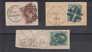 US Sc 147, 158, 210 used 3 diff on Envelope Corners w/ Fancy Cancels