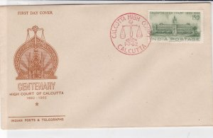 India 1962 Centenary High Court of Calcutta Pic Cancel Stamp FDC Cover Ref 34703