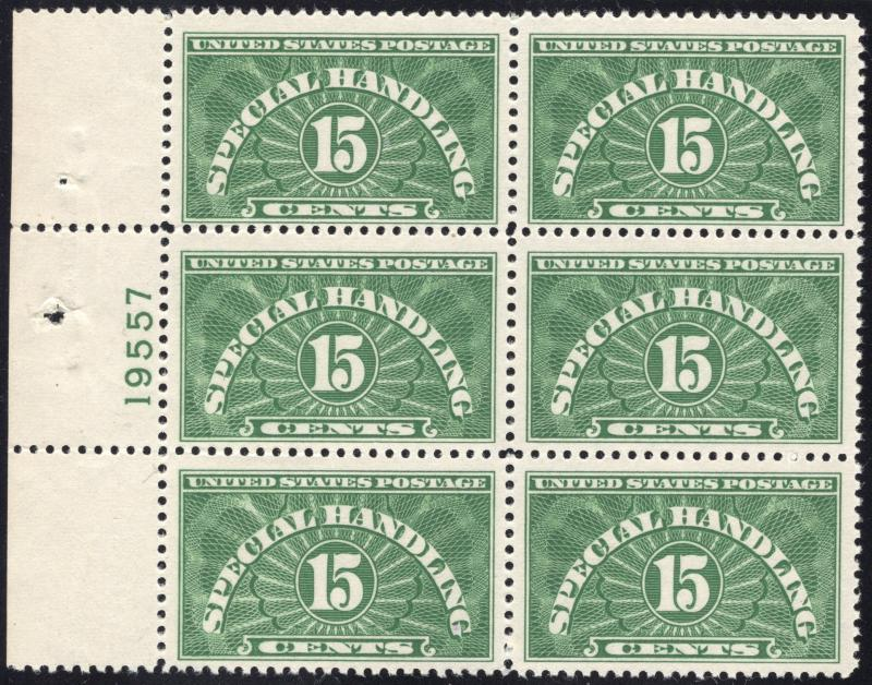 US#QE2 Special Handling - Plate # Block of 6 - O.G. - N.H.