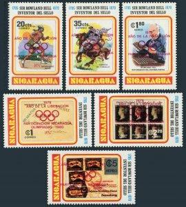 Nicaragua 1102-1102E,MNH. Olympics Lake Placid-1980,Moscow-1980.Rowland Hill.