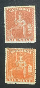 MOMEN: BARBADOS SG # 6d 1861-70 NO WMK ORANGE SHADES MINT OG H/UNUSED LOT #60662