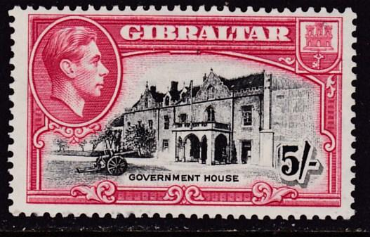 Gibralter 1938 King George VI 5/- Government House PERF-13 1/2  VF/Mint(*)