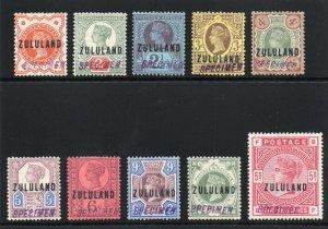Zululand 1888 QV complete SPECIMEN set Samual Type NA1 MLH. SG 1s-11s.