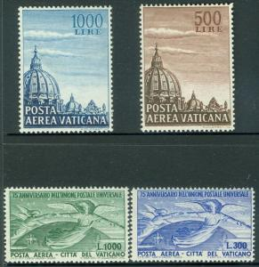 VATICAN : 1949-53. Sassone #A18-19, 22-23 Both sets are VF, Mint NH. Cat €350.00