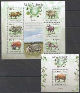 BC1324 2010 MOZAMBIQUE FAUNA ENVIRONMENT WILD ANIMALS JAVALIS BOARS KB+BL MNH